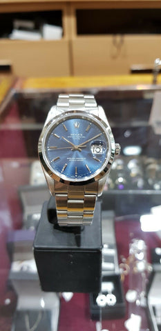 ROLEX OYSTER PERPETUAL DATE STAINLESS STEEL MENS WATCH 15210 SWISS MADE 2001 - Richard Miles Jewellers