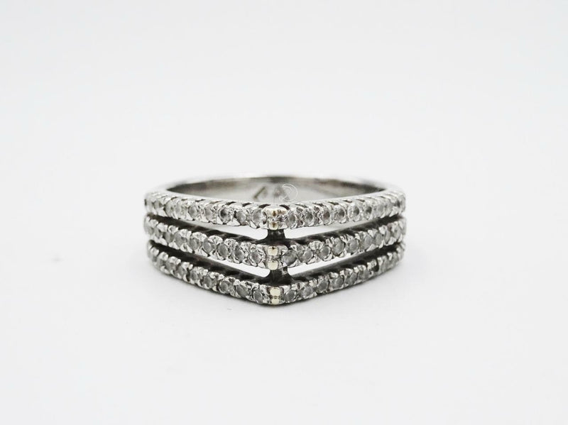 18ct White Gold Three Row Fancy Ladies 0.85ct Diamond Ring N 1/2 6.3grams - Richard Miles Jewellers