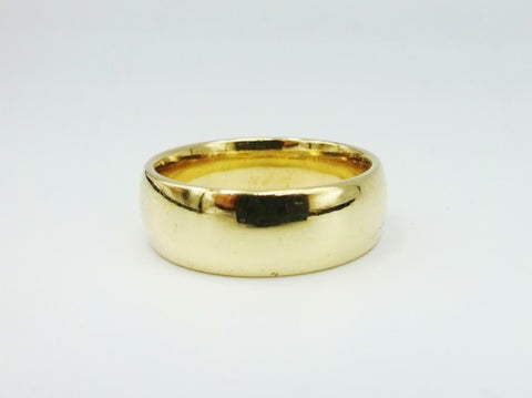 9ct Yellow Gold Wide Heavyweight D Shaped Wedding Band Size P 1/2 7g 6mm - Richard Miles Jewellers