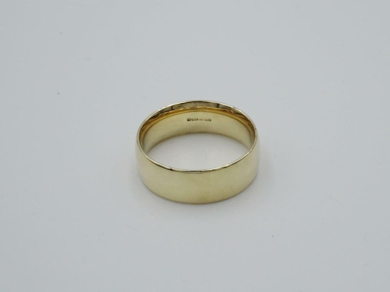 9ct Yellow Gold D-Shaped Mens Wedding Band Size T 7.3g - Richard Miles Jewellers