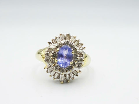 14ct Yellow Gold Ladies Fancy Tanzanite 0.72ct Diamond Cluster Ring 4.5g Size L