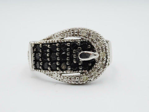 10ct White Gold Unisex Black White Diamond Buckle Ring 3.6g Size N 1/2 - Richard Miles Jewellers