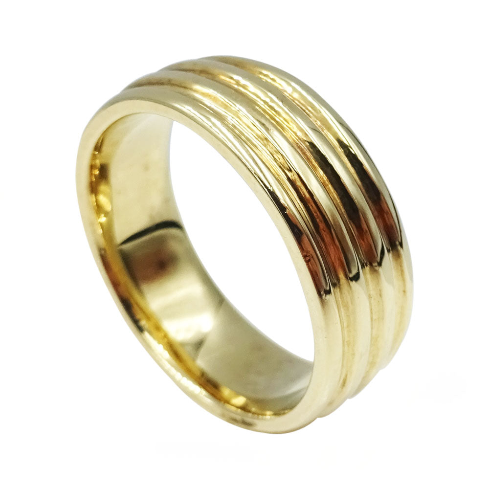 9ct Yellow Gold Gents Ribbed Wedding Band Size U 9.5g - Richard Miles Jewellers
