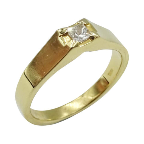 18ct Yellow Gold Square Cut Diamond Ring 0.15ct Size N