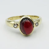 9ct Gold Cabochon Garnet & Cubic Zirconia Ladies Dress Ring Size N 3g - Richard Miles Jewellers