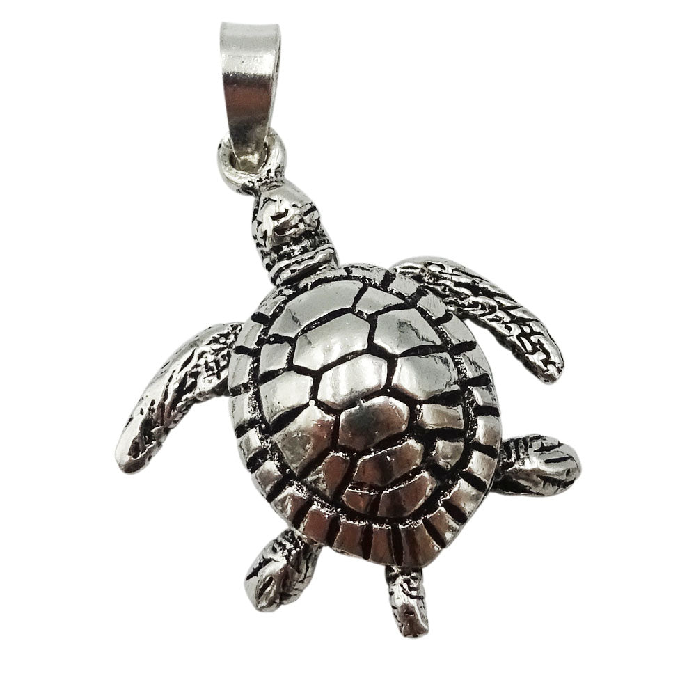 925 Sterling Silver Jointed Turtle Pendant 3.8g