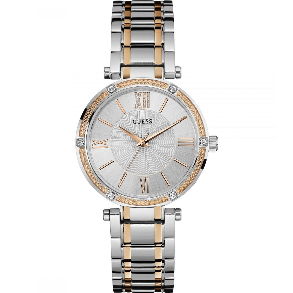 GUESS W0636L1 Ladies Silver Park Ave Watch With Rose Gold Detailing - Richard Miles Jewellers
