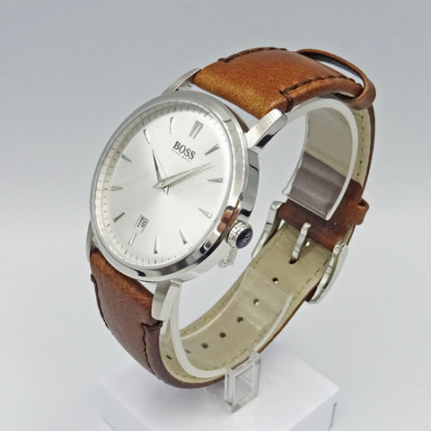 Hugo Boss Brown Leather Slim Ultra Round Watch 1512636 - Richard Miles Jewellers