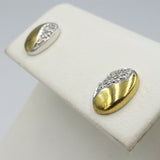 9 Ct White & Yellow Gold Ladies Oval Diamond Cluster Earrings - Richard Miles Jewellers