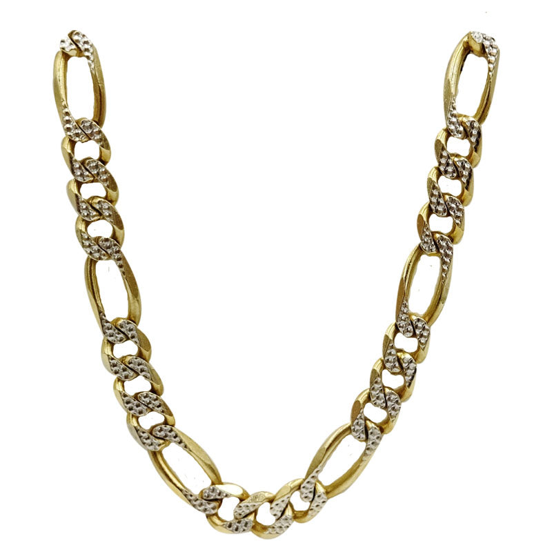 9ct Two Colour Yellow White Diamond Cut Finish Figaro Chain 30inch 36.9g - Richard Miles Jewellers