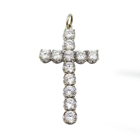 9ct White Gold Large 45mm CZ Stone Cross Pendant - Richard Miles Jewellers