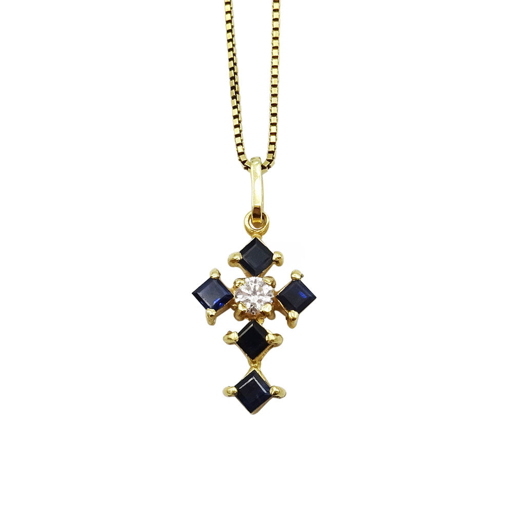 18ct Yellow Gold Blue Stone CZ Cross Pendant On Box Chain 4.8g - Richard Miles Jewellers