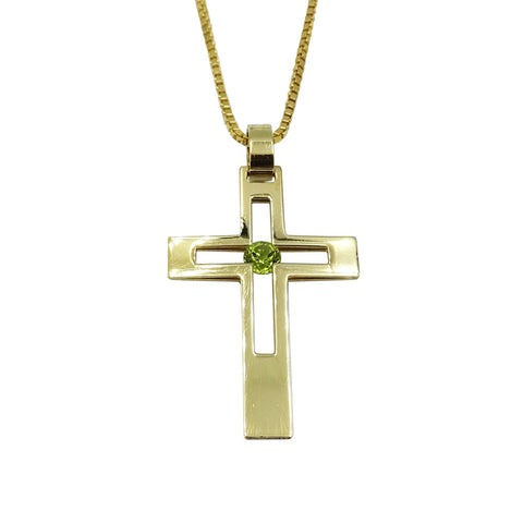 9ct Yellow Gold Cut Out Peridot Crucifix With Box Chain 6.5g - Richard Miles Jewellers