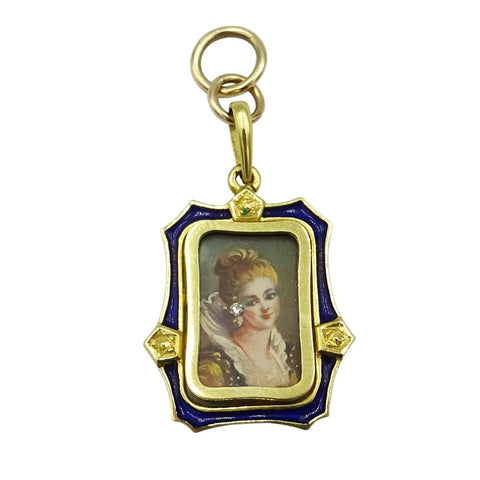 18ct Yellow Gold Blue Enamel Vintage Framed Portrait Pendant 4.3g