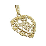 9ct Yellow Gold 'I Love You' Heart Shape Pendant 1.1g - Richard Miles Jewellers