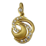 22ct Yellow Gold Swirl Cubic Zirconia Matt & Shiny Finish Pendant 27.5mm 2.4g - Richard Miles Jewellers