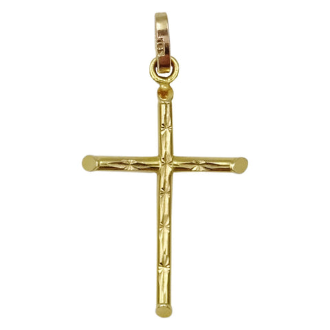 9ct Yellow Gold 375 Stamped Diamond Cut Cross Unisex Pendant 36mm 1g