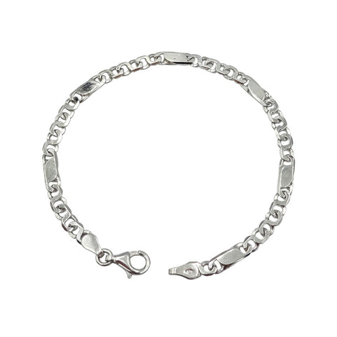 9ct White Gold Ladies Flat Curb Chain Bracelet 6g - Richard Miles Jewellers