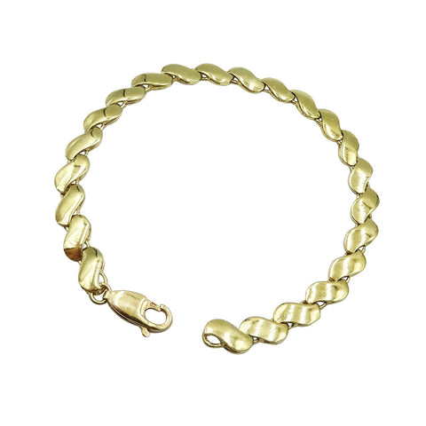9ct Yellow Gold Ladies Wave Link Design Bracelet 6.8g - Richard Miles Jewellers