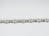 18ct White Gold Cubic Zirconia Ladies Cluster Tennis Bracelet 7.5inch 12.4g 6.35mm - Richard Miles Jewellers