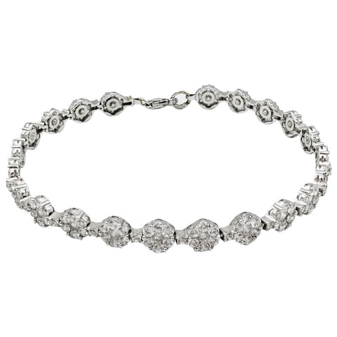 18ct White Gold Cubic Zirconia Ladies Cluster Tennis Bracelet 7.5inch 12.4g 6.35mm