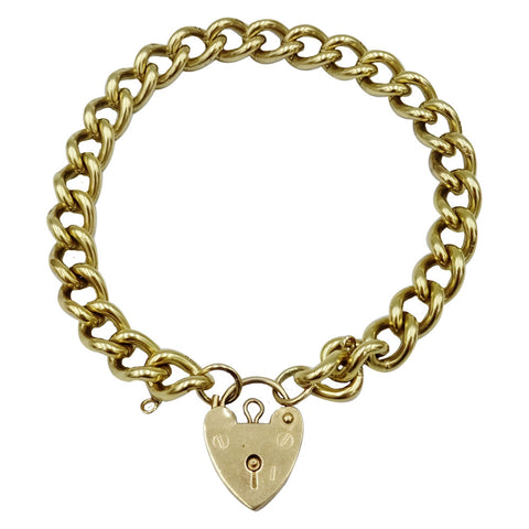 9ct Yellow Gold 375 Solid Heavy Charm Bracelet With Heart Closure 34.4g 7.5inch