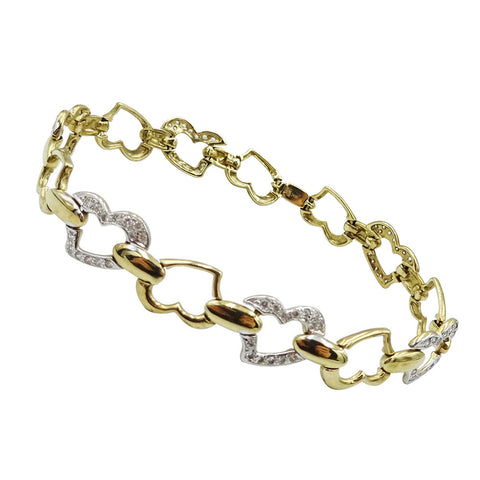 9ct Two Colour Gold Heart Cubic Zirconia Heart Link Bracelet 11.8g - Richard Miles Jewellers