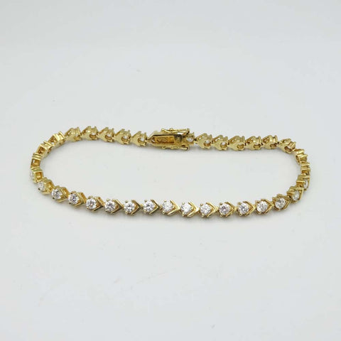 14ct Yellow Gold Cubic Zirconia Tennis Bracelet