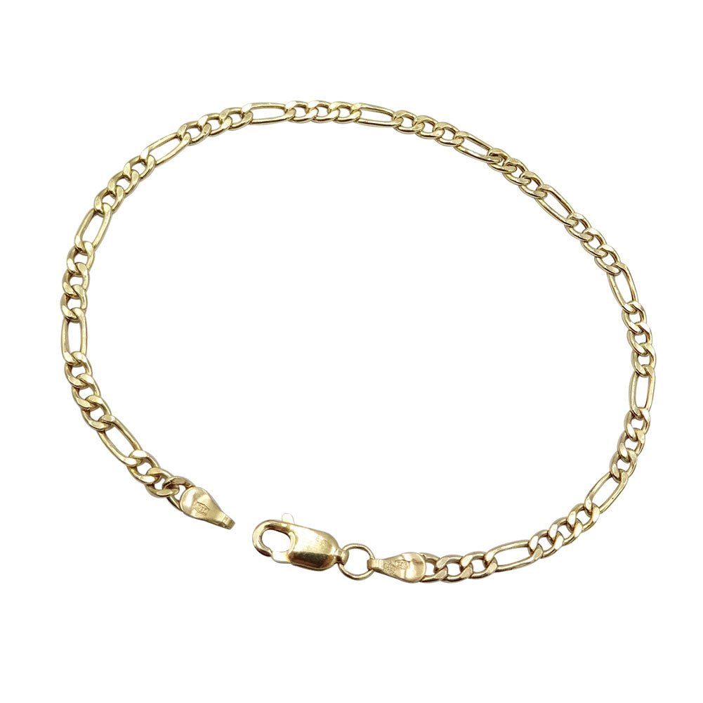 9ct Yellow Gold Fine Figaro Chain Bracelet 1.4g - Richard Miles Jewellers