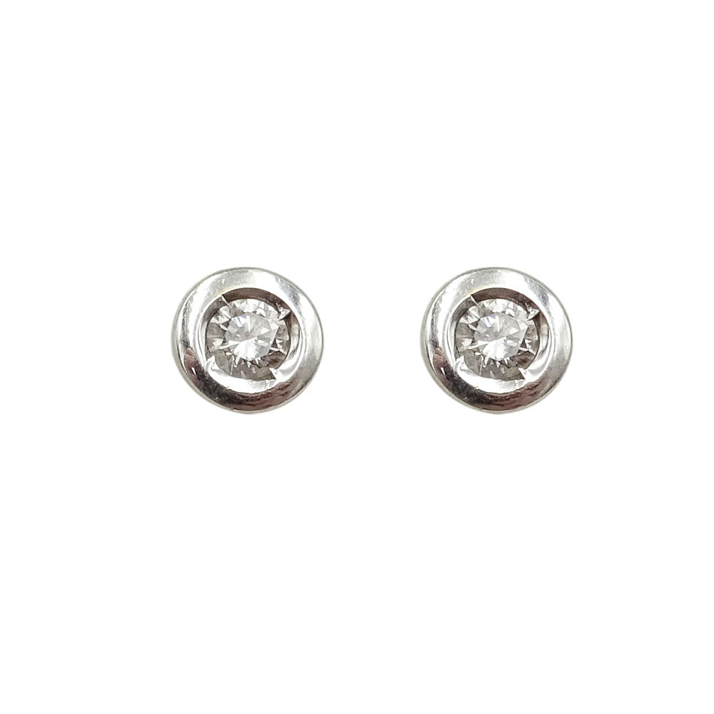 14ct Diamond Bezel Set Stud Earrings White Gold 0.20ct - Richard Miles Jewellers
