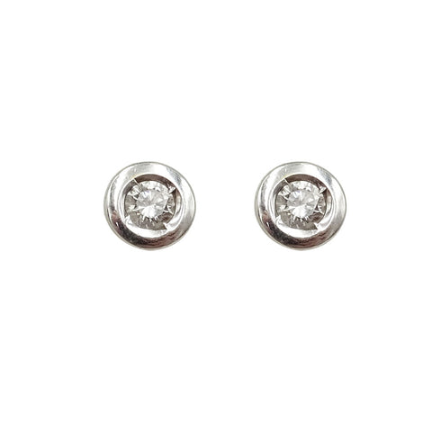 14ct White Gold Diamond Bezel Set Stud Earrings 1.4g - Richard Miles Jewellers