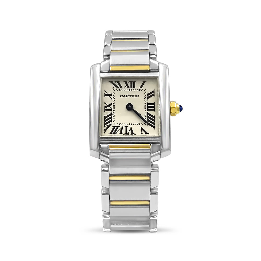 Cartier Tank Française Ladies Pre-Owned Swiss 2384 Steel & Gold Wrist Watch - Richard Miles Jewellers
