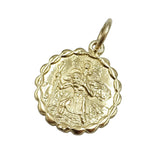 9ct Yellow Gold Two Sided Scalloped St.Christopher Pendant 3.3g - Richard Miles Jewellers