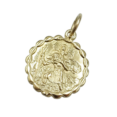 9ct Yellow Gold Two Sided Scalloped St.Christopher Pendant 3.3g