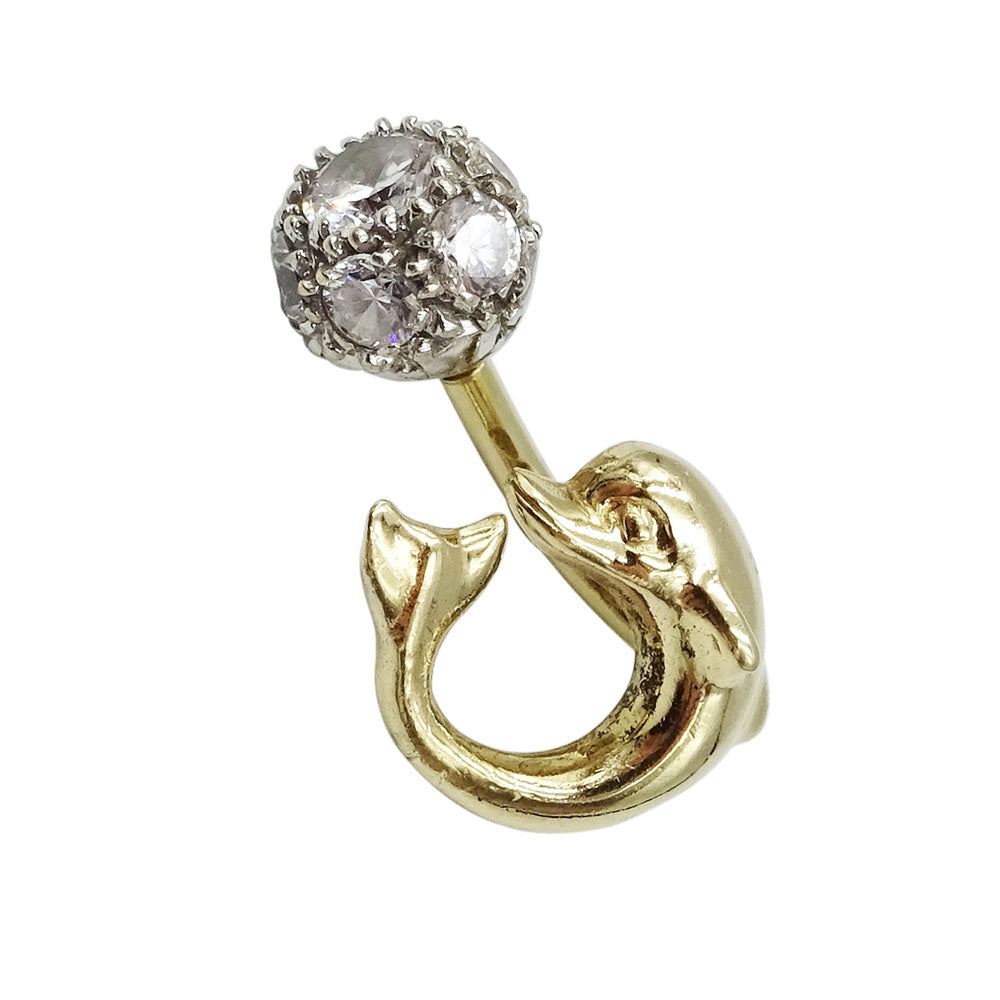 9ct Yellow Gold Dolphin Cubic Zirconia Belly Bar Piercing Jewellery - Richard Miles Jewellers