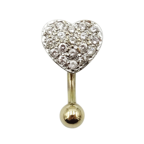 9ct White Gold Cubic Zircona Heart Belly Bar Piercing Jewellery - Richard Miles Jewellers