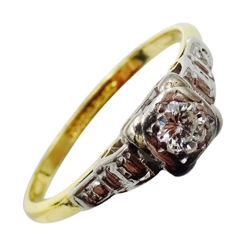 18ct Yellow Gold Vintage 0.10ct Diamond Unique Quality Ladies Ring 2.8g Size Q