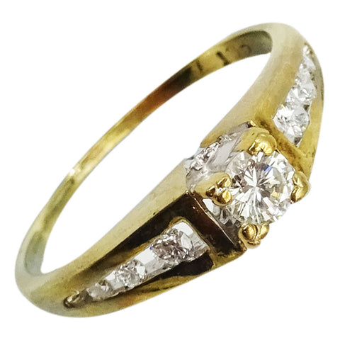9ct Yellow Gold 0.40ct Diamond Fancy Shoulder Engagement Ladies Ring Size K 1.7g - Richard Miles Jewellers