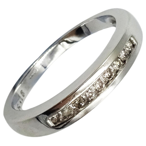 9ct White Gold 0.18ct Diamond Half Eternity Ladies Smooth Ring Size N 3.45mm 2.8g - Richard Miles Jewellers