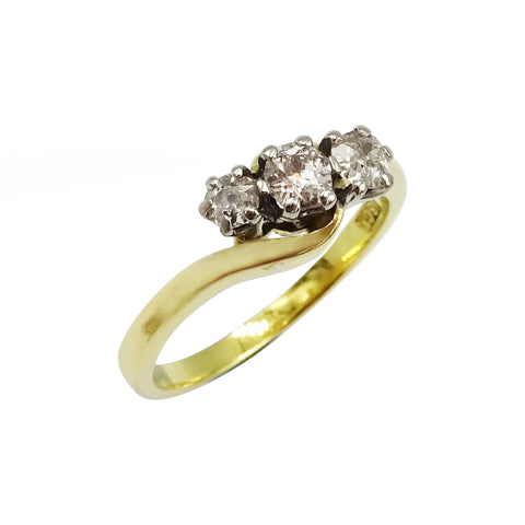 18ct Yellow Gold Ladies Trio Diamond Ring Size I - Richard Miles Jewellers