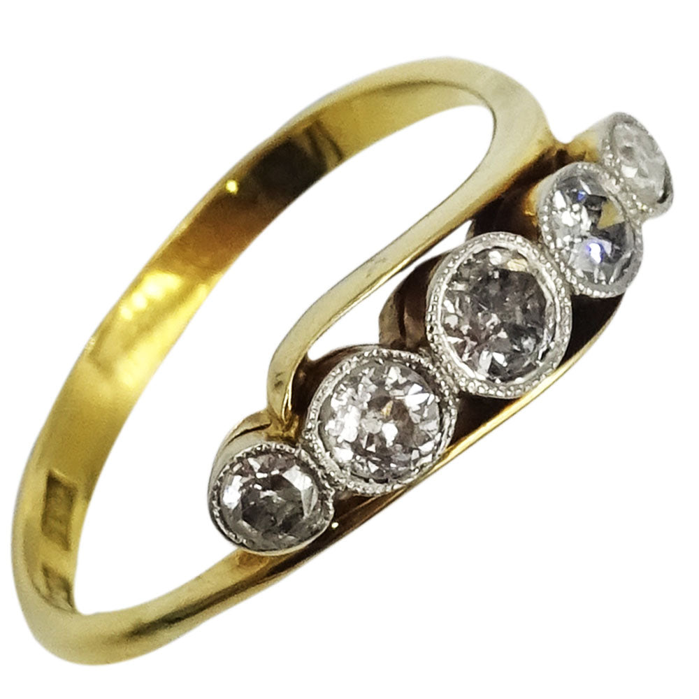 18ct Yellow Gold 0.71ct Diamond 5 Stone Ladies Quality Ring Size S 3.5g - Richard Miles Jewellers