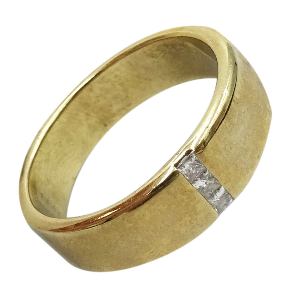 9ct Yellow Gold 0.06ct Diamond Mens Smooth Finish 6mm Wedding Band Size T 7g - Richard Miles Jewellers