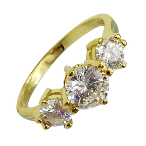 14ct Yellow Gold 3 Stone Cubic Zirconia Fancy Ladies Ring Size Size P 1/2 3.1g