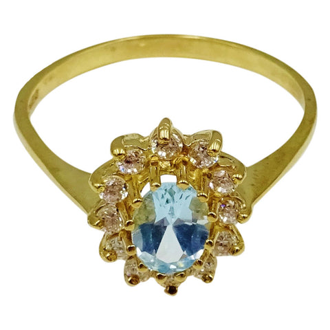 9ct Yellow Gold Centre Oval Topaz Cluster CZ Ladies Dress Ring Size X 1/2 3g