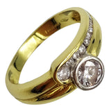 18ct Yellow Gold 0.55ct Diamond Single Stone & Fancy Shoulder Ladies Ring K 1/2 3.9g - Richard Miles Jewellers
