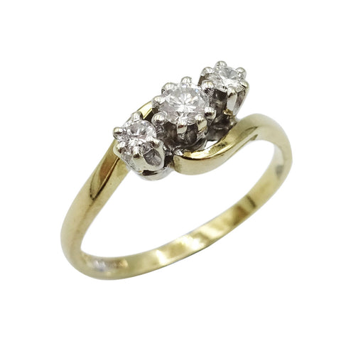 9ct Yellow Gold Ladies Three Stone Diamond Ring Size K - Richard Miles Jewellers