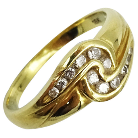 18ct Yellow Gold 0.20ct Diamond Swirl Ladies Quality Ring Size K 3.2g - Richard Miles Jewellers