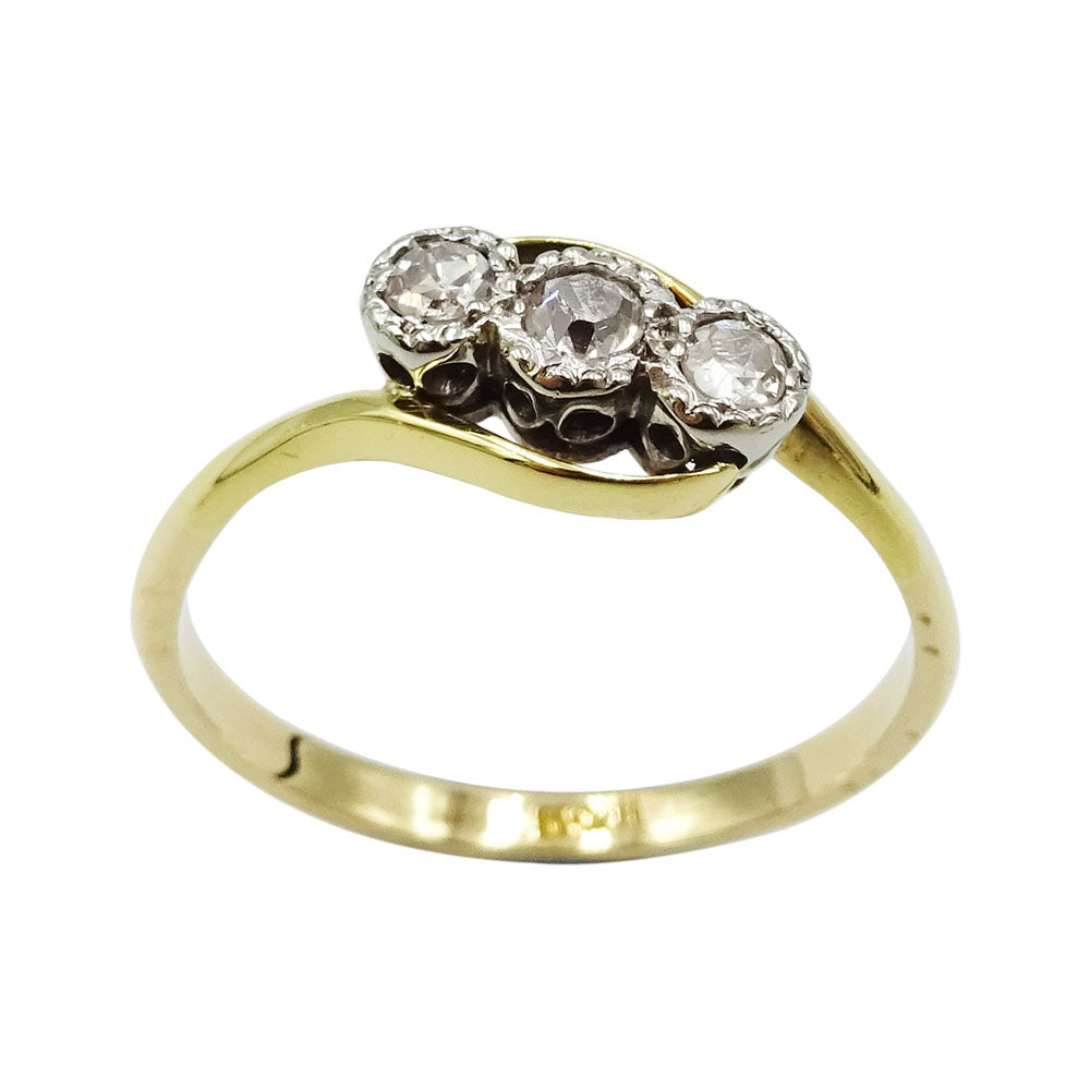18ct Yellow Gold 3 Stone 0.21ct Diamond Ladies Ring Size Q 2.6g - Richard Miles Jewellers