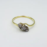 18ct Yellow Gold Ladies Vintage Old Cut Twisted 0.25ct Diamond Ring 2.1g Size T 1/2 - Richard Miles Jewellers