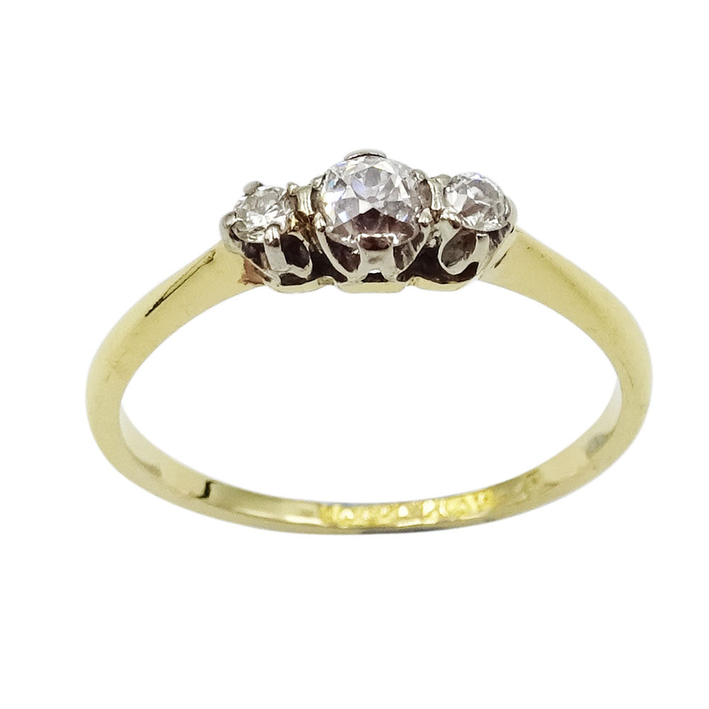 18ct Yellow Gold Ladies Diamond Trio Ring Size N - Richard Miles Jewellers